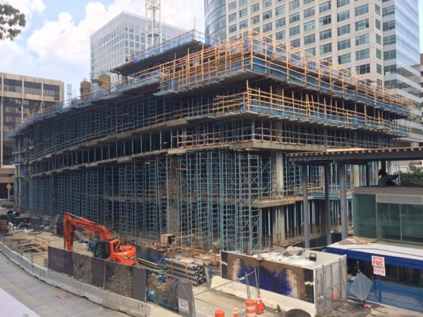 The under-construction Central Place tower rises in Rosslyn