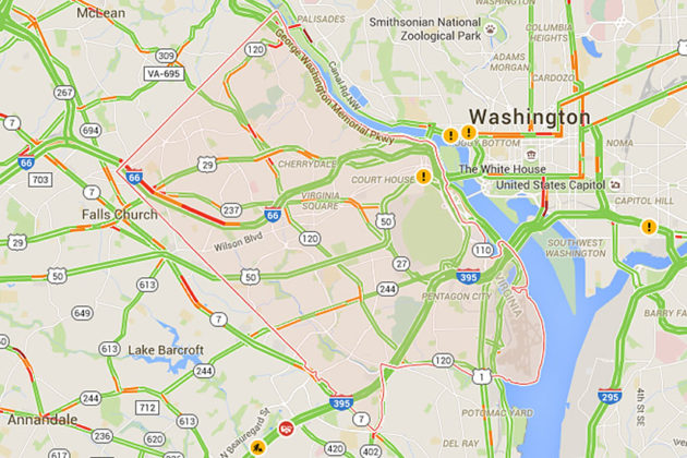 Google Map showing traffic during Thursday's morning rush