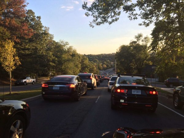 Evening rush hour traffic on S. Walter Reed Drive