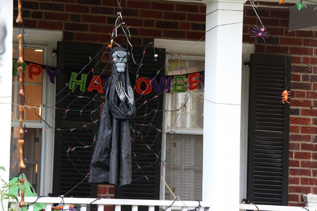 Halloween decorations on N. Harrison Street