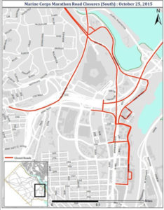 Marine Corps Marathon road closures (Courtesy of ACPD)