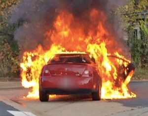 Car fire in the Barcroft neighborhood on 10/23/15 (photo courtesy ACPD)