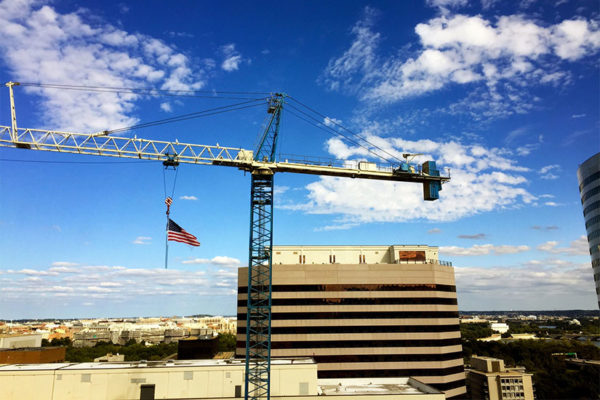 Crane on a blue sky in Rosslyn (Flickr pool photo by Mrs. Gemstone)