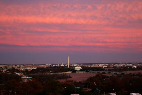 D.C. monuments seen during sunset from Arlington (Flickr pool photo by Brian Allen)