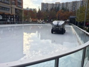 The Pentagon Row ice skating rink in 80 degree heat on Nov. 6, 2015