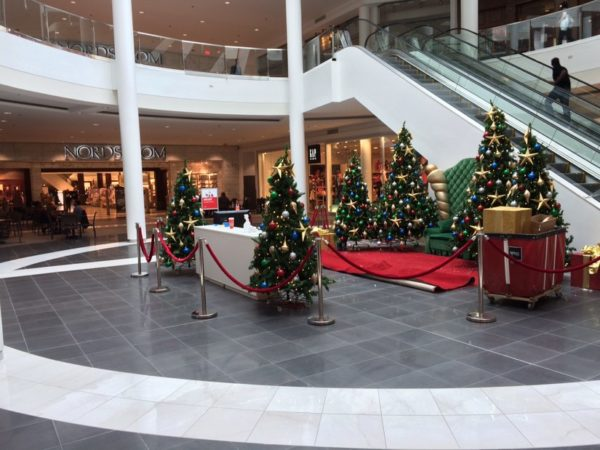 Christmas decorations outside of Nordstrom at Pentagon City mall