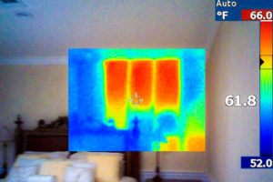Missing insulation, seen on a thermal imaging camera