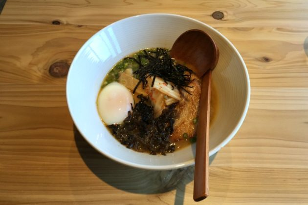 Miso Porky ramen with pork broth, red and white miso seasoning, nori, kimchi and a soft egg