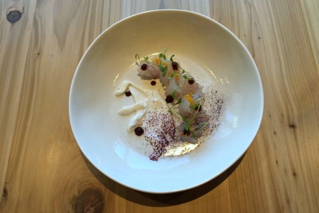 Fluke with sour coconut, dehydrated shiso and cherry puree