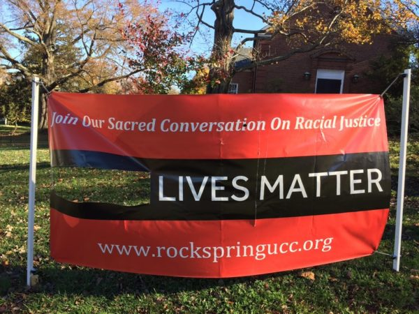 "Vandalized ""Black Lives Matter"" sign outside Rock Spring Congregational church (photo courtesy Rev. Kathy Dwyer)"