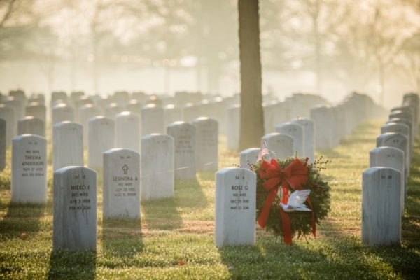 Graves and a holiday wreath at Arlington National Cemetery (Flickr pool photo by Kevin Wolf)