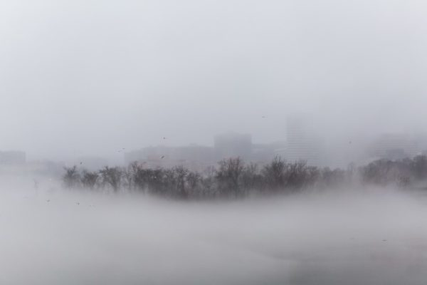 Fog on the Potomac near Roosevelt Island and Rosslyn (Flickr pool photo by Dennis Dimick)