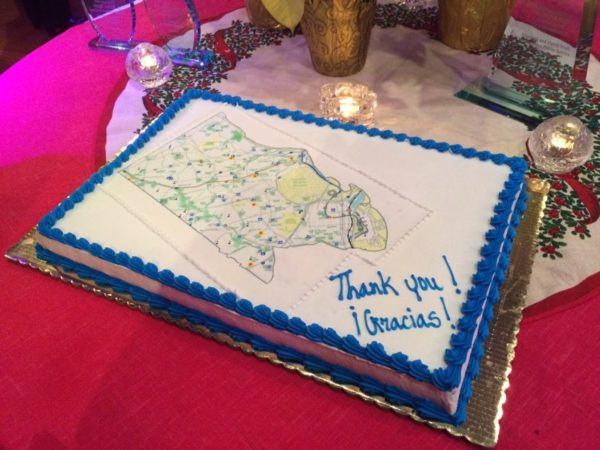 """""""Thank you"""" cake at the goodbye party for outgoing County Board members Walter Tejada and Mary Hynes at The Salsa Room 12/17/15"""