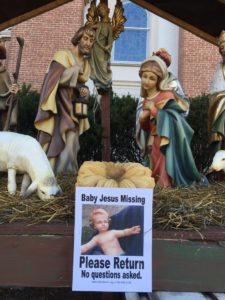 Baby Jesus missing from nativity scene outside Calvary United Methodist Church in Aurora Highlands (photo via Facebook)