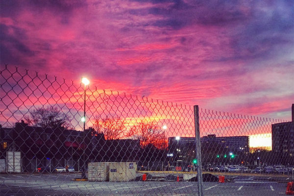 Colorful sunset, as seen from the Costco parking lot in Pentagon City (Flickr pool photo by Dennis Dimick)