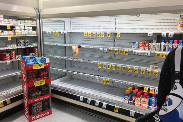 Milk has also not been restocked at several area stores