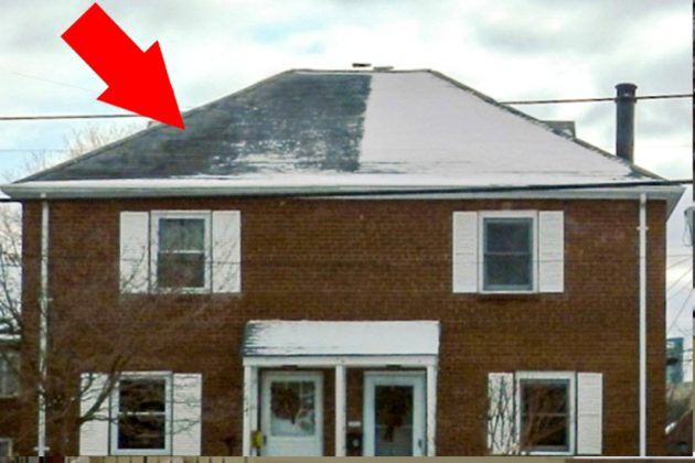 Melting snow on roofs caused by inadequate insulation, warm air leakage into the attic, or both.