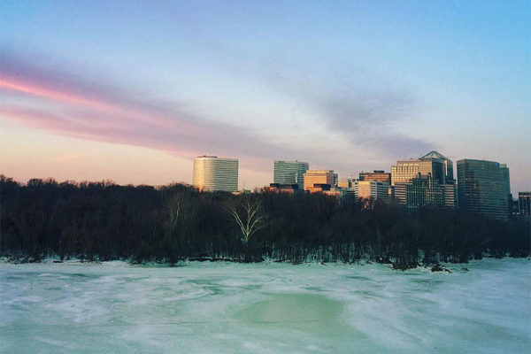Rosslyn and the frozen Potomac River (Flickr pool photo by J.D. Moore)