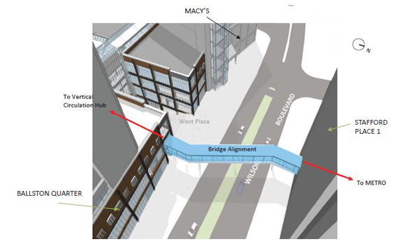Proposed Ballston pedestrian bridge alignment