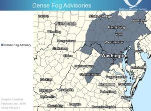 National Weather Service fog advisory