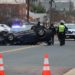Overturned convertible in Nauck