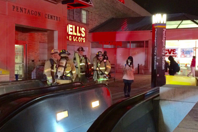 Firefighters rushed to the station earlier tonight