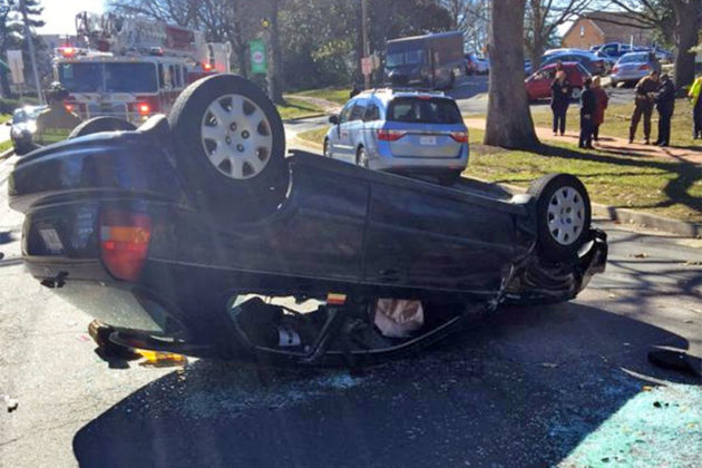 Overturned vehicle in Falls Church (image via @ACFDPIO)