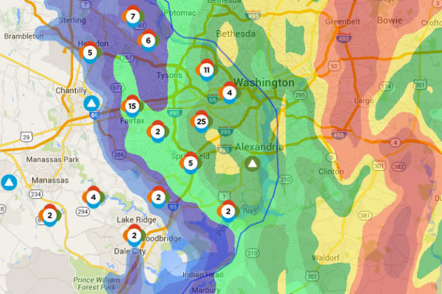 Post-storm power outages across Northern Virginia