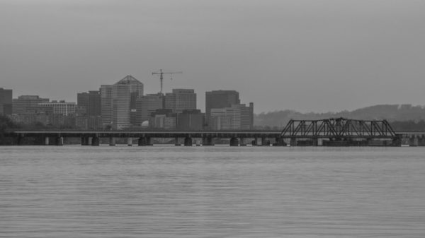 Gray skies over Rosslyn and the Potomac (Flickr pool photo by John Sonderman)