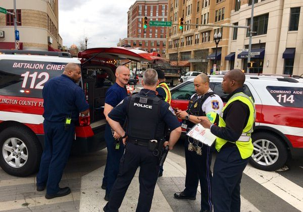 Integrated, cross-agency response outside the Clarendon Metro station (photo courtesy @CAPT258)
