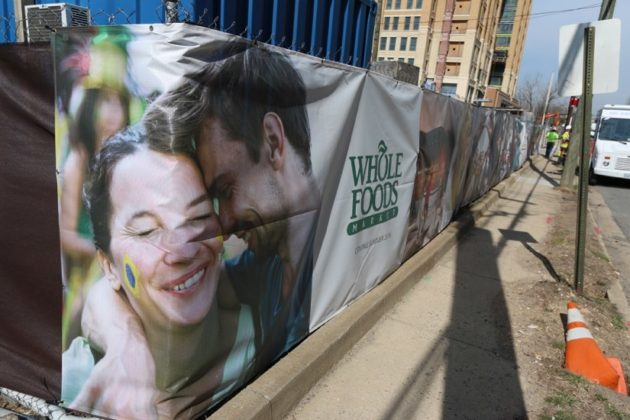 Whole Foods sign outside The Bartlett in Pentagon City