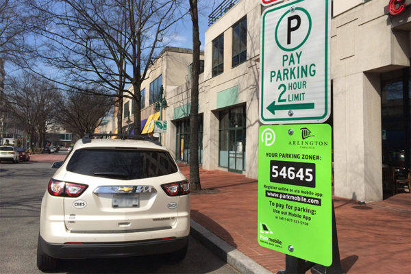 Paid parking along Campbell Avenue in Shirlington