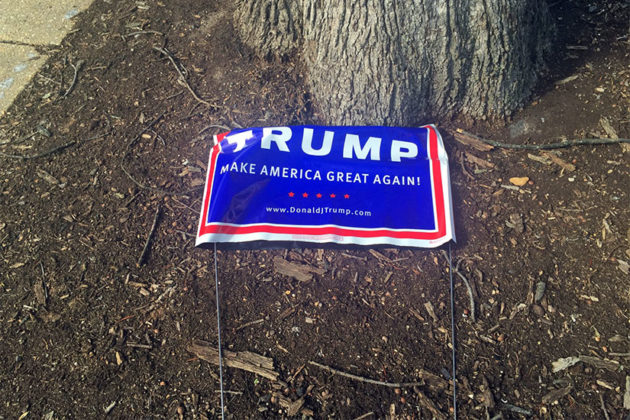 Donald Trump sign on the ground outside the Arlington Arts Center