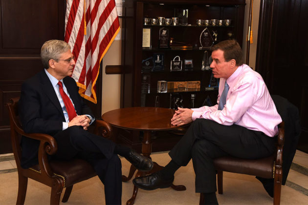 Sen. Mark Warner meeting with Merrick Garland (photo courtesy of Warner's office)