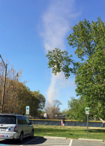 Apparent dust devil during youth baseball game at Quincy Field (photo courtesy Harold Andersen)