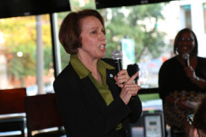 Libby Garvey debates at an Arlington Young Democrats event