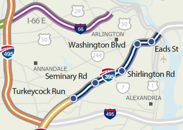 The extended lanes will run from Fairfax County through Arlington to the Potomac River