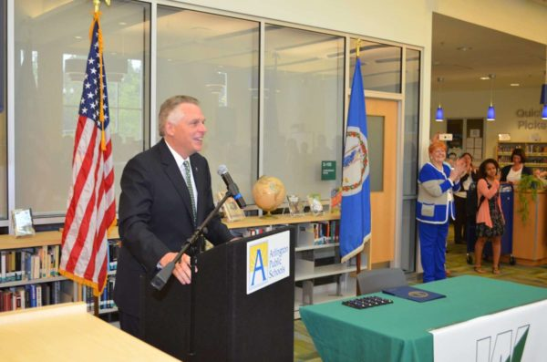 Gov. Terry McAuliffe signs two pieces of legislation at Wakefield High School on 5/12/16 (Photo courtesy Arlington County)