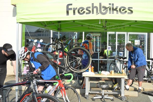 Fresh Bikes tent at the Ballston pits top