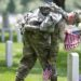 Soldier participates in Flags In at Arlington National Cemetery, just prior to Memorial Day