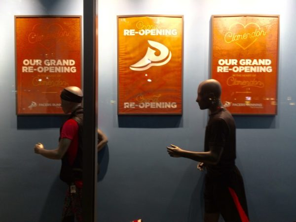 Mannequins displayed in the window at Pacers Running Store in Clarendon