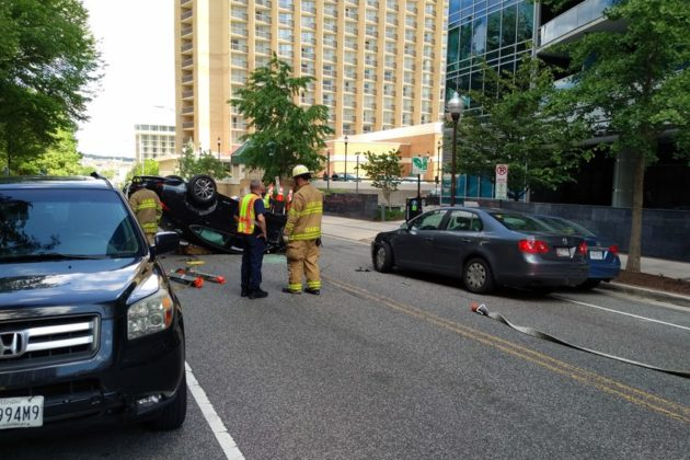 Rollover accident in Rosslyn (photo courtesy David J. Mitchell)