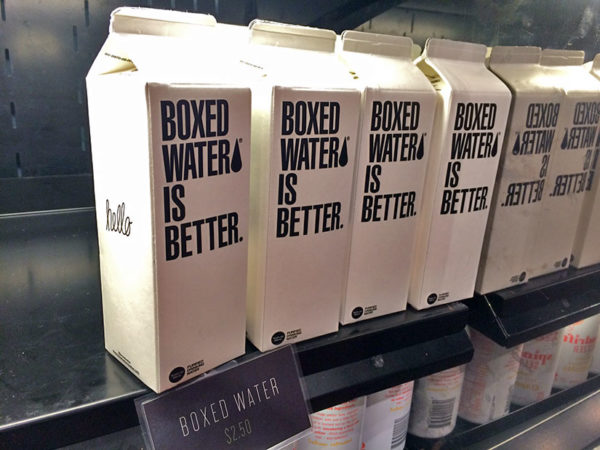 Boxed water at Roti restaurant in Rosslyn