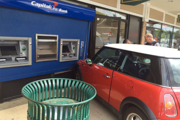 Car slams into the front of the Capital One Bank in the Bradlee Shopping Center (photo via @AlexFD_SOC)