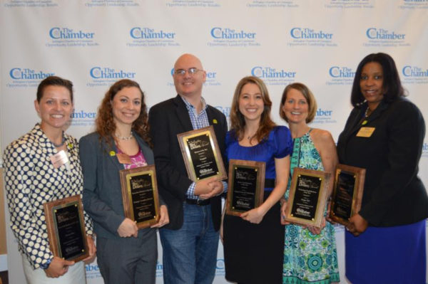 2016 Arlington Best Business Award winners - from left to right: Phoenix Bikes, Strategic Consulting Partners, Snagajob, Virginia Center for Orthodontics, Design TLC, Crystal City Marriott (photo courtesy Arlington Chamber of Commerce)