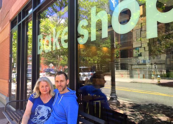 Linda and Justin Stegall outside of Bakeshop in Clarendon (photo via Facebook)