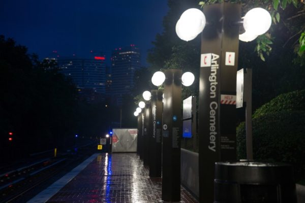 Arlington Cemetery Metro station in the rain (Flickr pool photo by Brian Irwin)