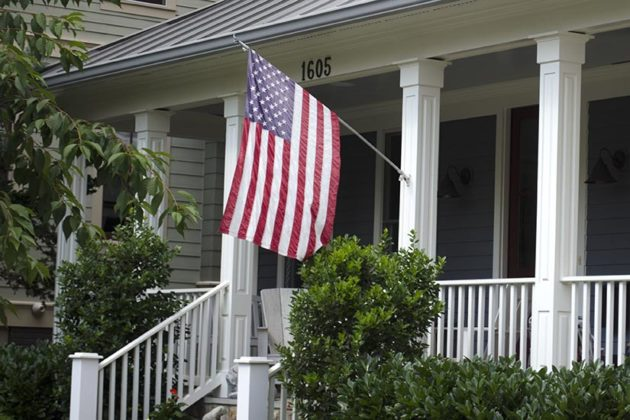 Flag outside of a home in Clarendon