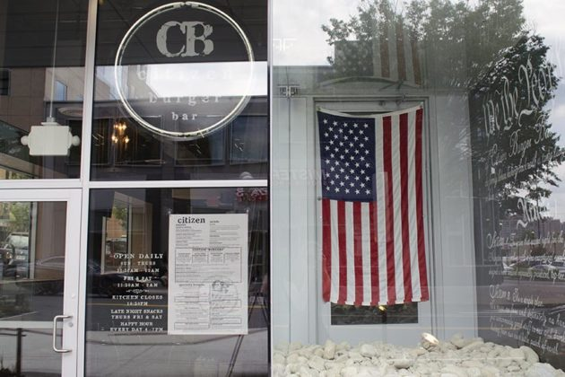 Flag outside of Citizen Burger