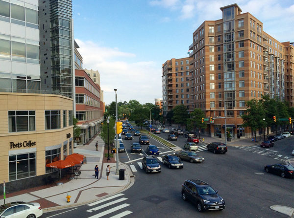 Traffic and buildings in Clarendon
